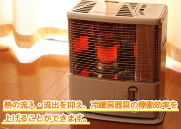 熱の流入・流出を抑え、冷暖房器具の稼働効率を上げる